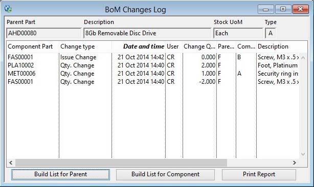BoM Changes Log
