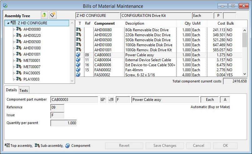 Bills of Material Maintenance - Details pane