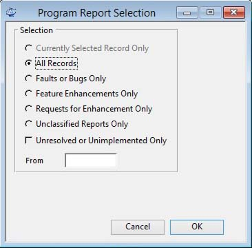 Program Report Selection