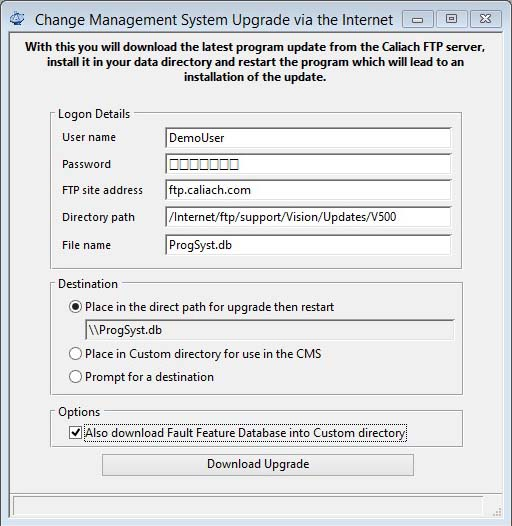 Change Management System Upgrade via the Internet