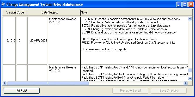 Change Management System Notes Maintenance