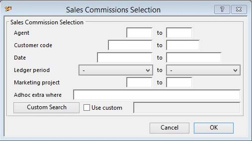 Sales Commissions Selection