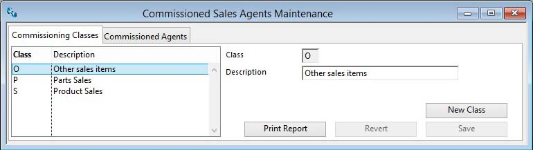 Commissioned Sales Agents Maintenance - Commissioning Classes Pane