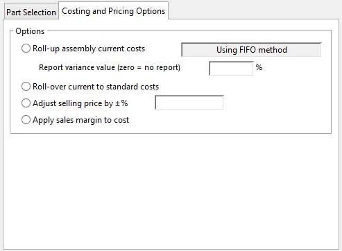 Product Costing - Costing and Pricing Options pane