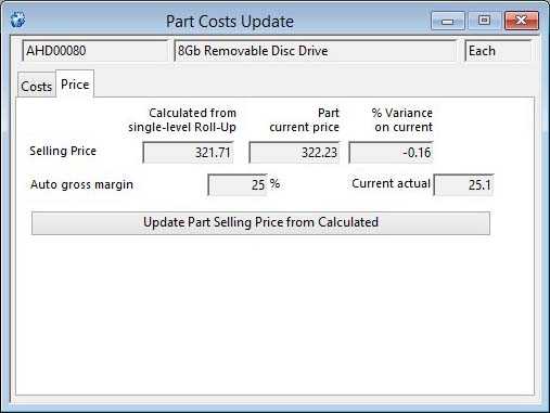 Part Costs Update - Price pane