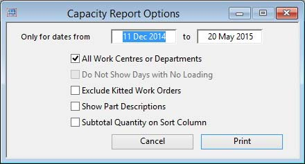 Capacity Report Options