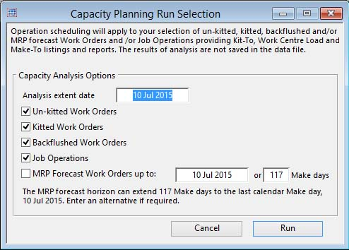 Capacity Planning Run Selection