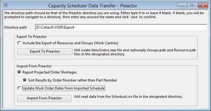 Capacity Scheduler Data Transfer - Preactor