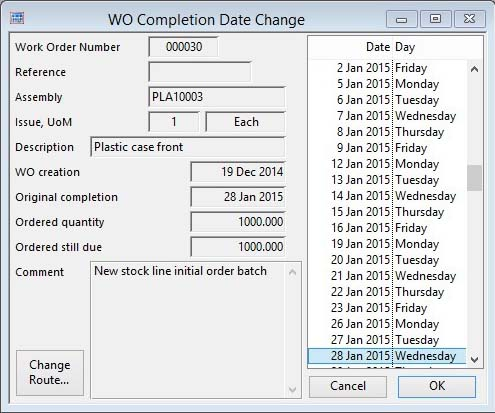 WO Completion Date Change