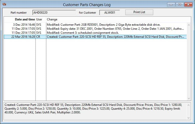 Customer Parts Changes Log