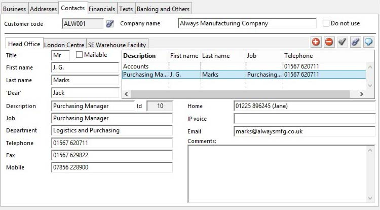Customer Maintenance - Contacts pane