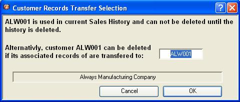 Customer Records Transfer Selection