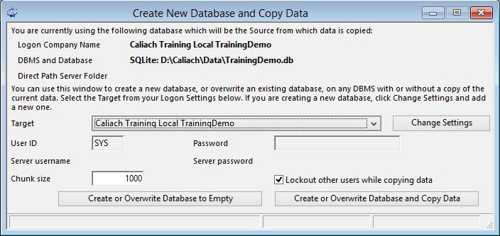 Create New Database and Copy Data window