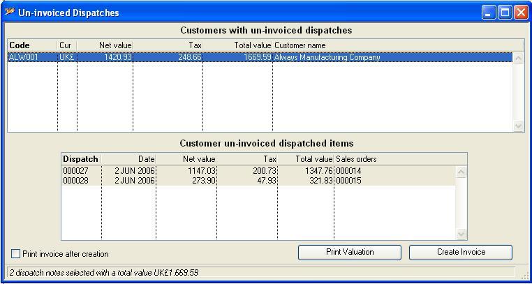Un-invoiced Dispatches