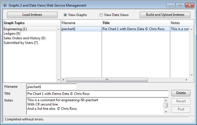 Graphs 2 and Data Views Web Service Management window