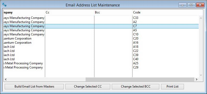 Email Address List Maintenance scrolled right