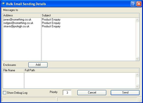 Buld Email Sending Details window