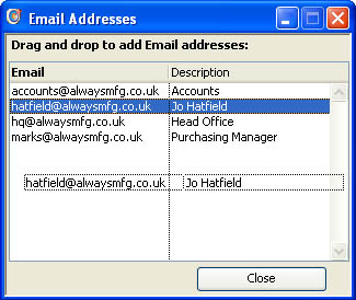 Email Addresses window.