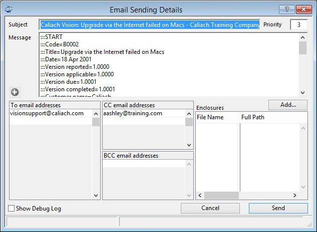 Email Sending Details window