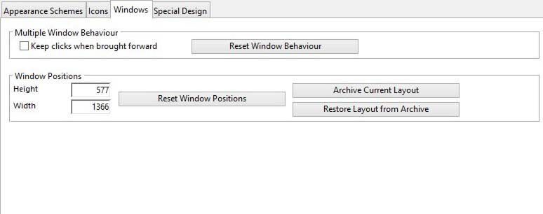 Environment Designer Windows tab pane