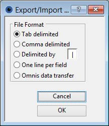 Export/Import Format Selection window
