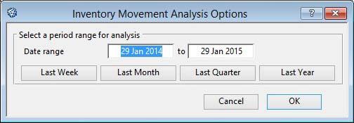 Inventory Movement Analysis Options
