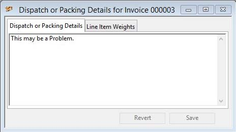 Dispatch or Packing Details - Dispatch or Packing Details pane
