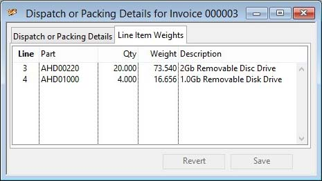 Dispatch or Packing Details - Line Item Weights pane
