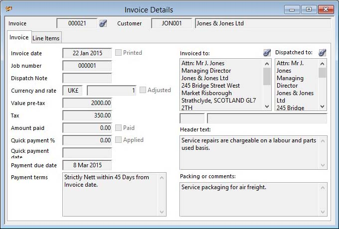 Invoice Details - Invoice pane