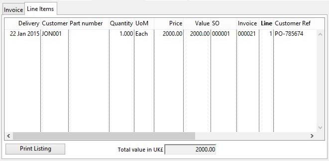 Invoice Details - Line Item pane