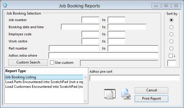Job Booking Reports