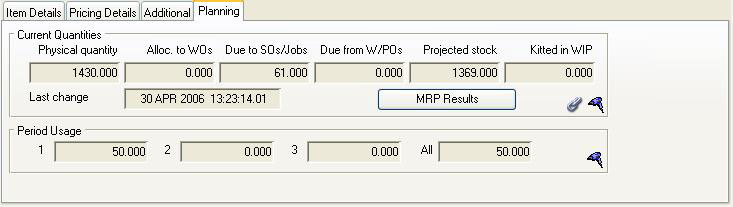 Job Line Item Maintenance - Planning pane when a part item is selected