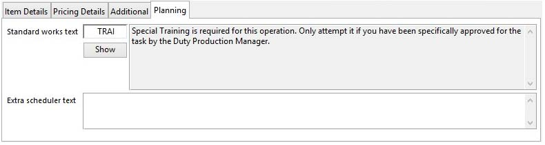 Job Line Item Maintenance - Planning pane when an operation item is selected