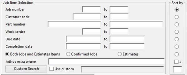 Job Item Selection