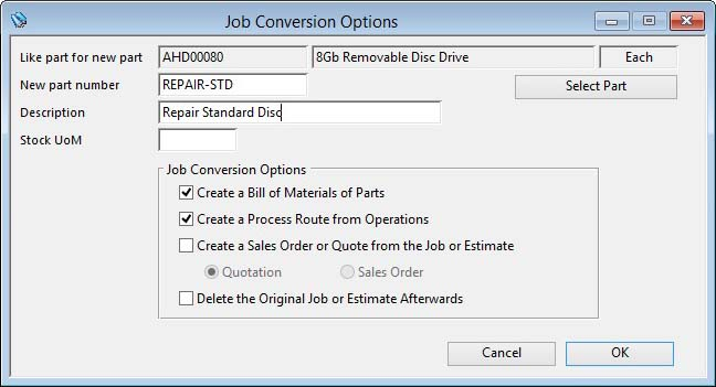 Job Conversion Options