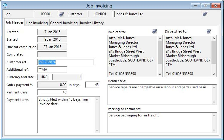 Job Invoicing and Crediting - Job Header pane