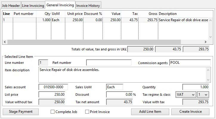 Job Invoicing and Crediting - General Invoicing pane