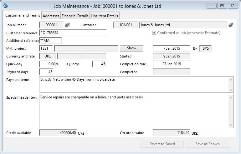 Job Maintenance - Customer and Terms pane