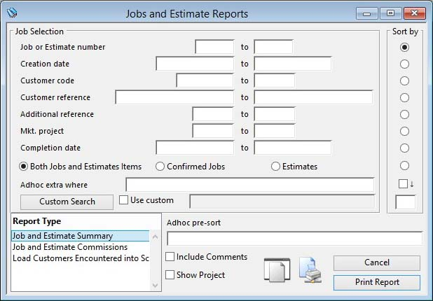 Jobs and Estimate Reports
