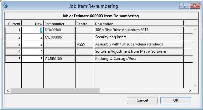 Job Item Re-numbering