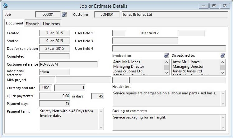Job or Estimate Details - Document pane
