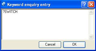 Keyword Enquiry Entry window
