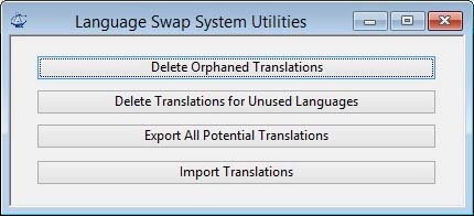 Language Swap System Utilities window.