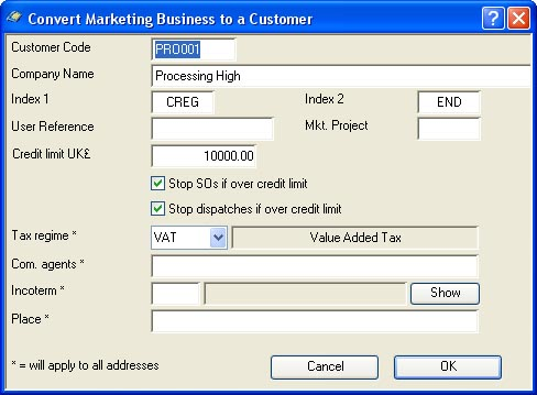 Convert Marketing Business to a Customer