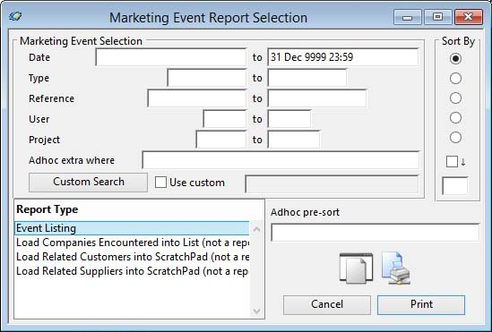 Marketing Event Report Selection