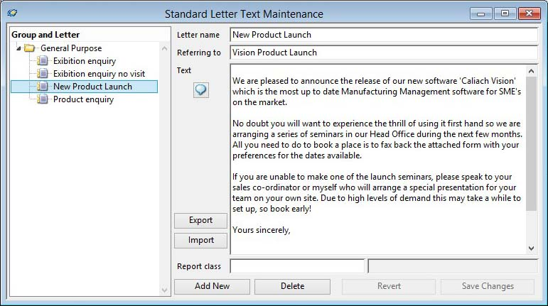 Standard Letter Text Maintenance