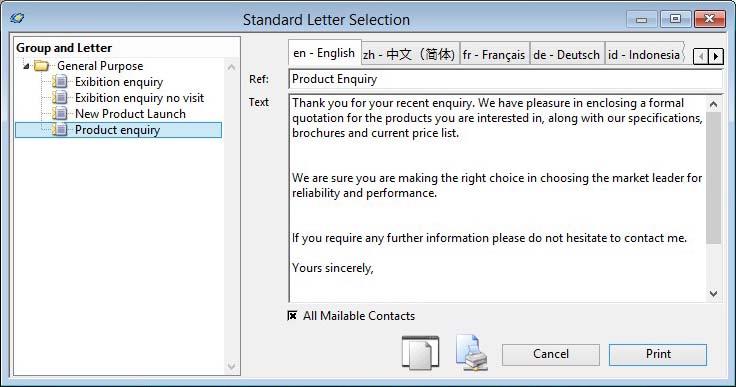 Standard Letter Selection