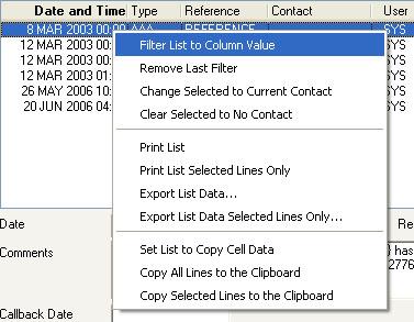 Event list context menu