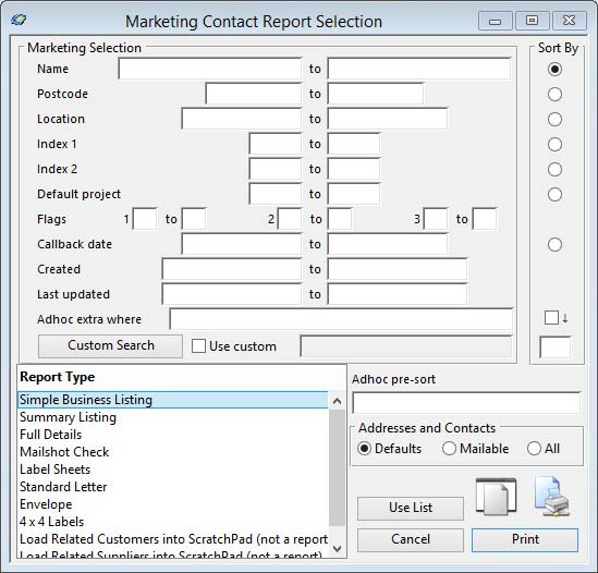 Marketing Contact Report Selection
