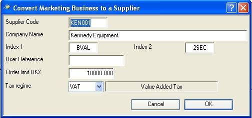 Convert Marketing Business to a Supplier